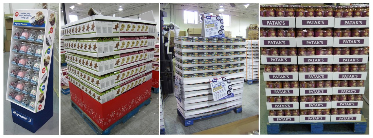 Floorstand display, Full Pallet display, Half Pallet display, trays - by Repack Canada co-packing
